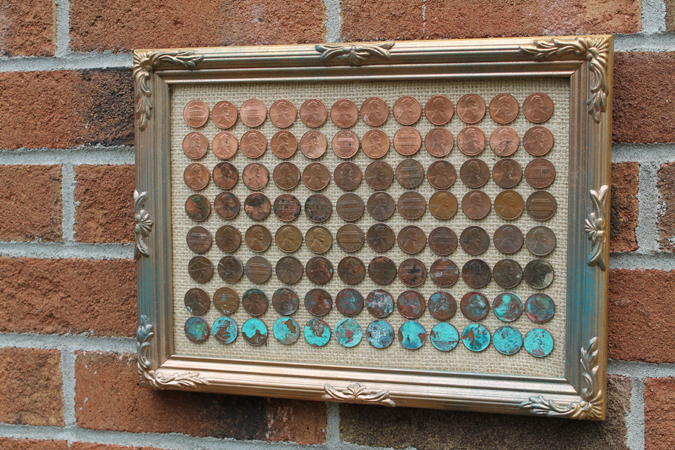 Doodlecraft diy ombre penny art project for How to make a penny wall
