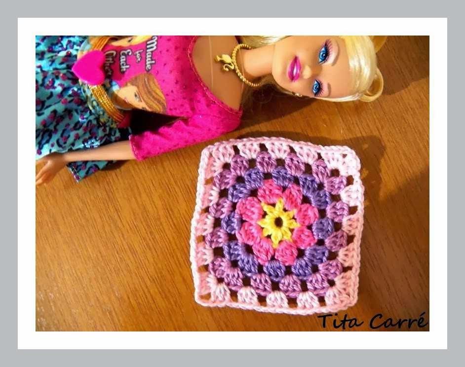 Square Rosa Pink Barbie em Crochet