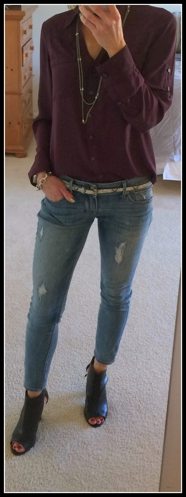 Express Convertible Sleeve Portofino shirt, wine, stella destroyed ankle jean legging, python belt, side cut out runway bootie, pave accented curb chainbracelet, faceted stone necklace