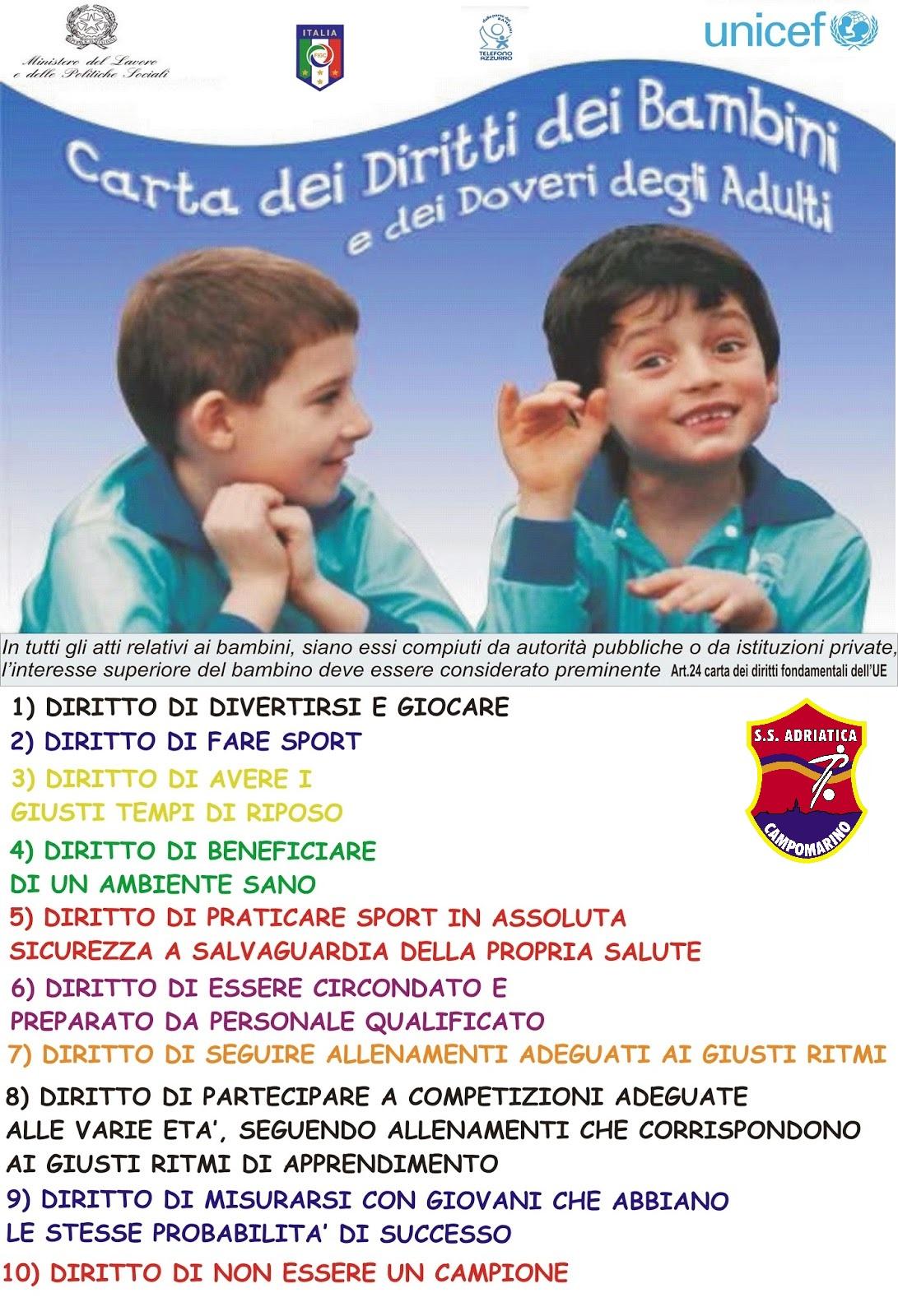 Adriatica campomarino carta dei diritti dei bambini e dei for Convivenza diritti e doveri