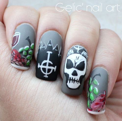 ... five ghouls and the Ghost BC logo. I know everything might not make  sense if you haven't seen the video but nonetheless I'm very happy with the  outcome. - Gelic' Nail Art: 31DC2015 - Day 29; Ghost Bc Inspired Nail Art