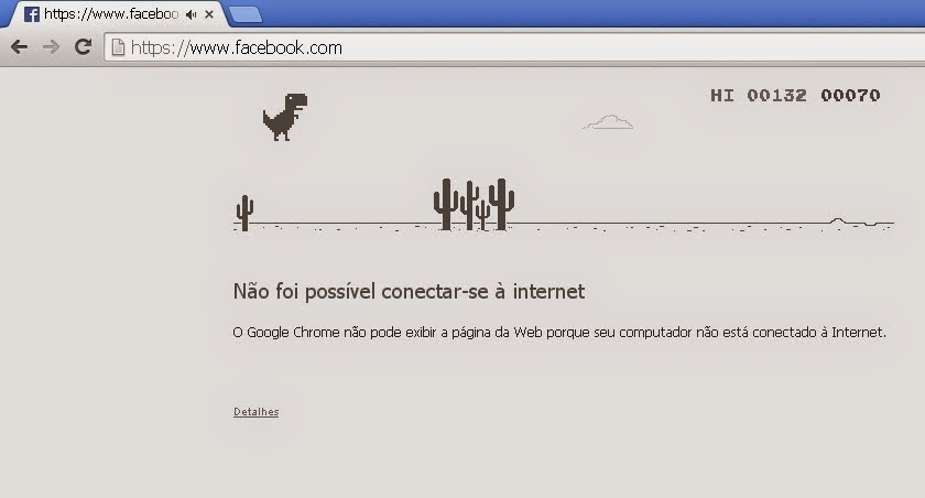 Jogo do dinossauro no Chrome