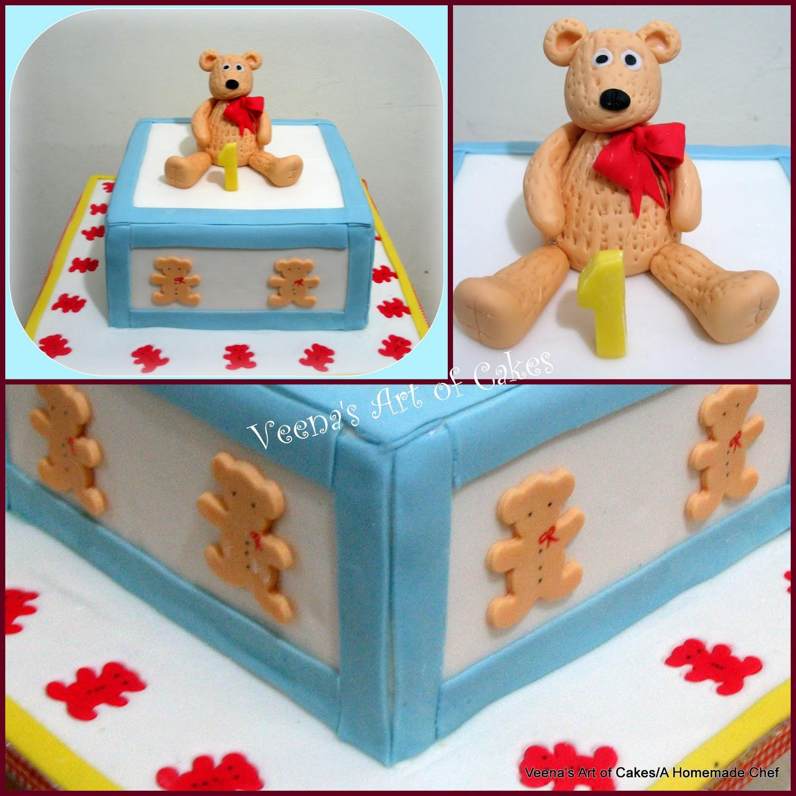 A Teddy Bear First Birthday Cake