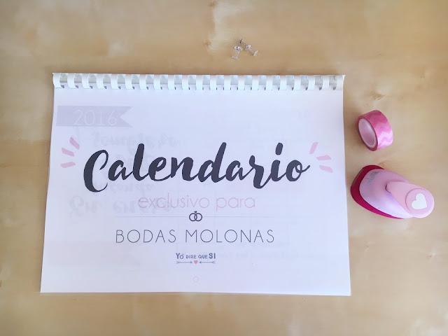 Calendario para bodas molonas 2016 de Yo diré que SI.