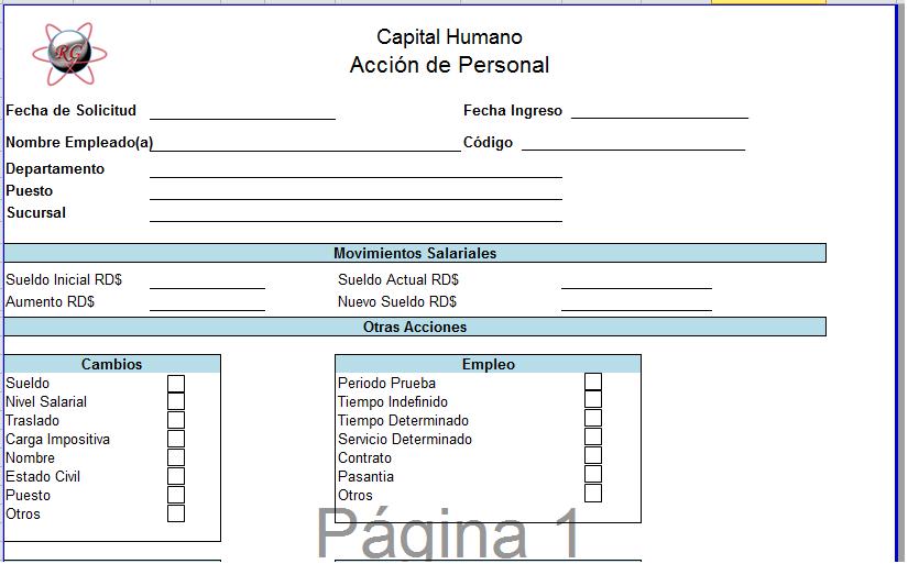 Ramon Gracesqui: Plantilla En Excel de Acción de Personal
