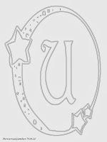 Mewarnai Gambar Huruf Alfabet U Bergaya Bulan Bintang