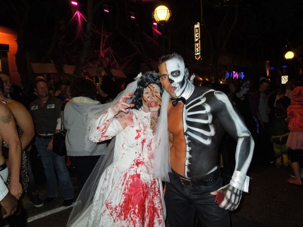 Zombie bride half-skeleton costumes West Hollywood Halloween