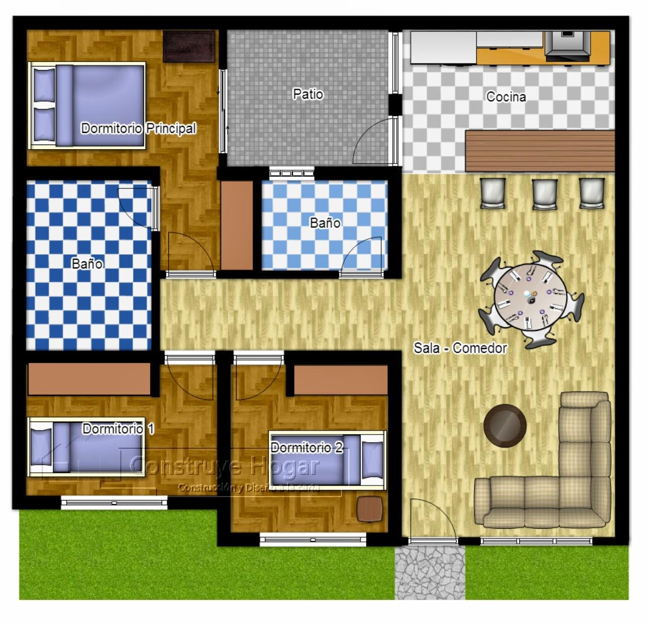 Desain Rumah Minimalis 1 Lantai 3 Kamar Tidur Gambar Foto Desain