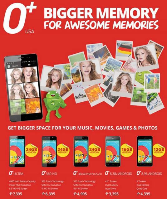 O+ USA Bigger Memory, O+ USA Android Smartphones