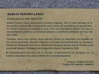 Leyenda escultura Basilio Paraíso Lasús palza Zaragoza