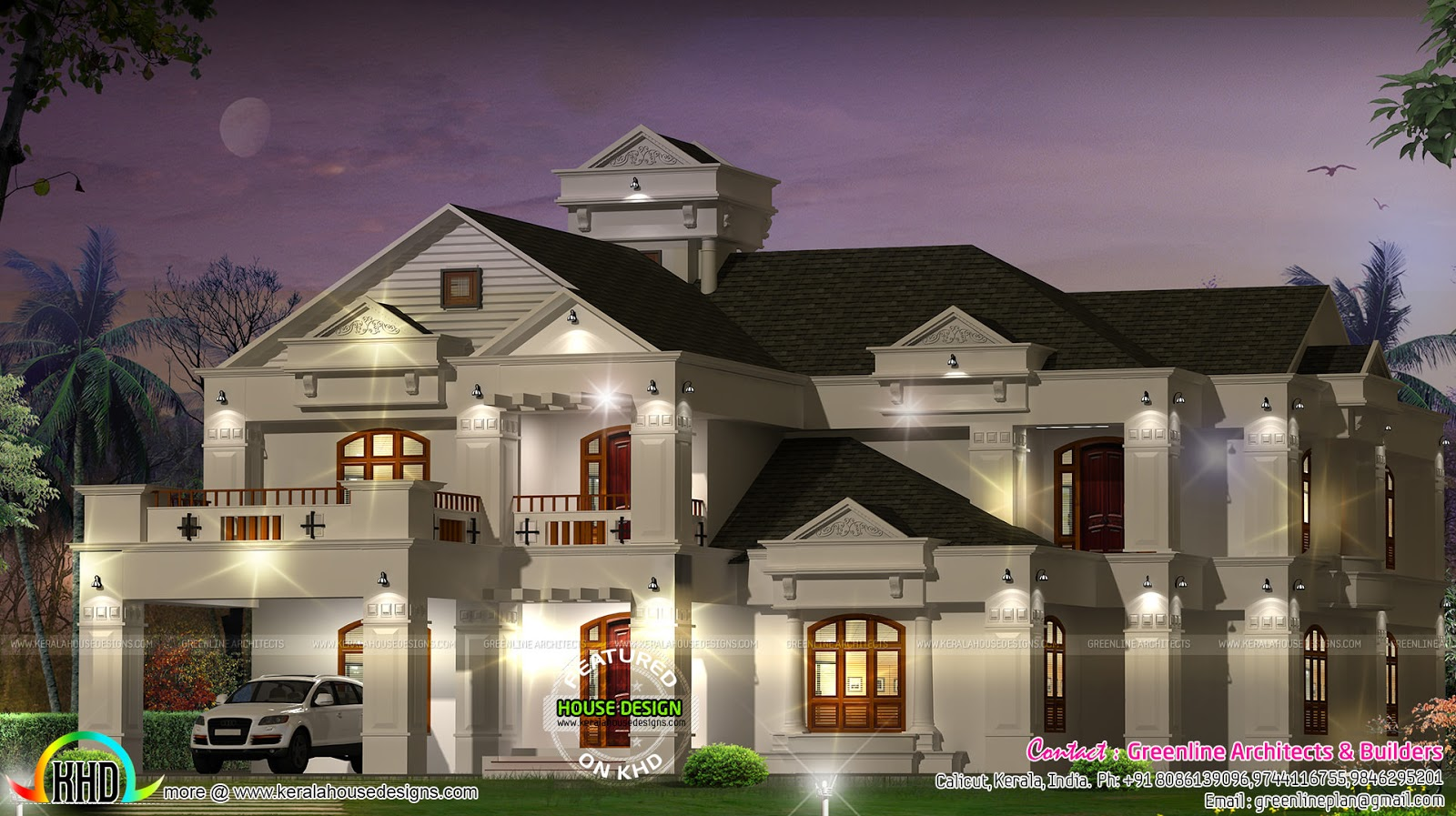 Super luxury 6 bedroom villa kerala home design and for Villa plans in kerala