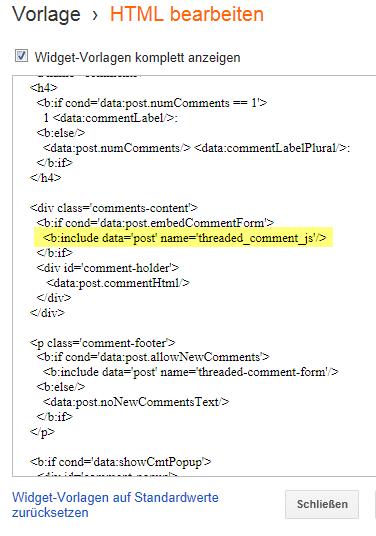 Neue Blogger Blogspot Kommentarfunktion ausschalten