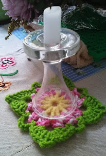 Crochet flower granny square pot holder