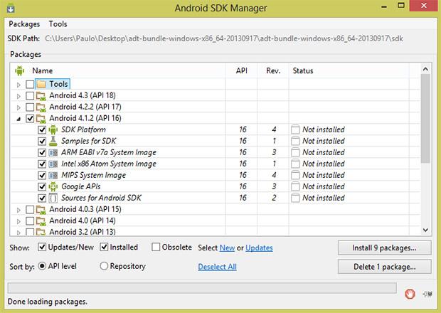 No SDK Manager, instale os pacotes correspondentes ao seu Android