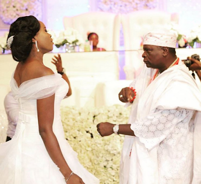 ex Gov Oyinlola and daughter on her wedding day