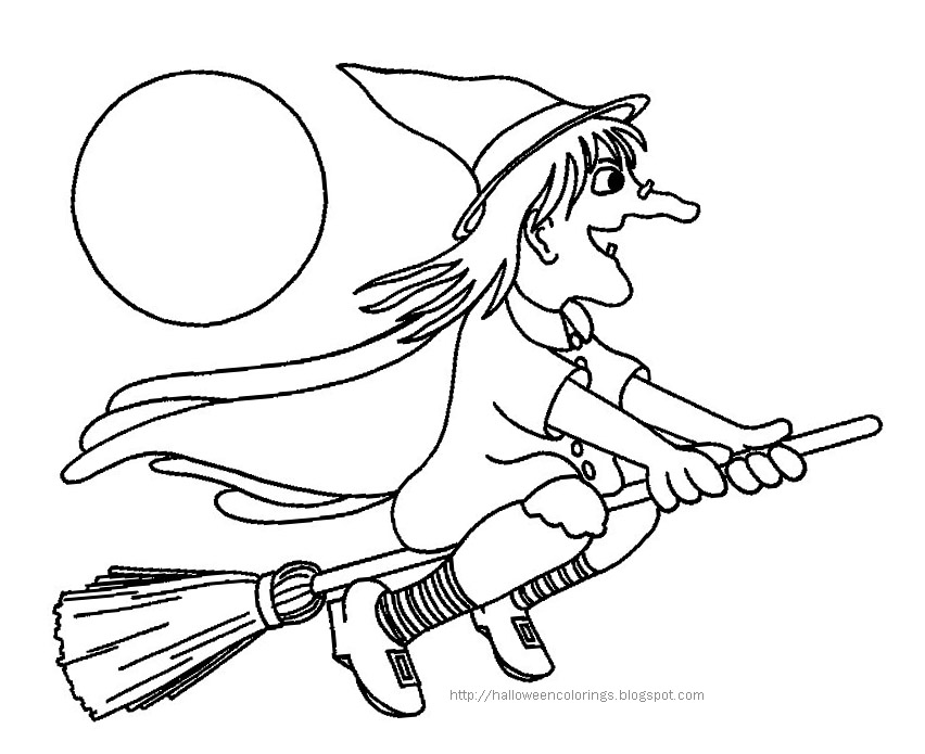 Here Are Two Pictures Of Witches For You To Print And Color One Even Has Her Cat With On Broomstick Click The Halloween Colorings Page Like