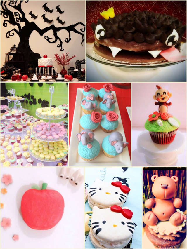 Cupcake et Macaron dessert tables for kids
