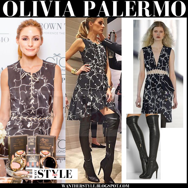 Olivia Palermo in black floral print Preen mini dress and black over the knee jimmy choo toni boots what she wore dublin ciate promotion