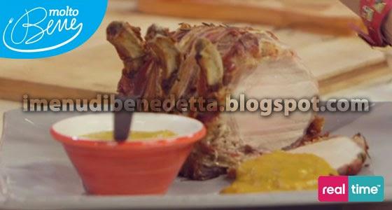 Carrè di Maiale al Bacon con Salsa BBQ alla Pesca Sciroppata di Benedetta Parodi
