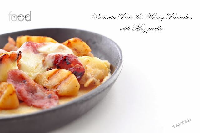 Pancetta Pear & Honey Pancakes with Mozzarella ~ Simple Food