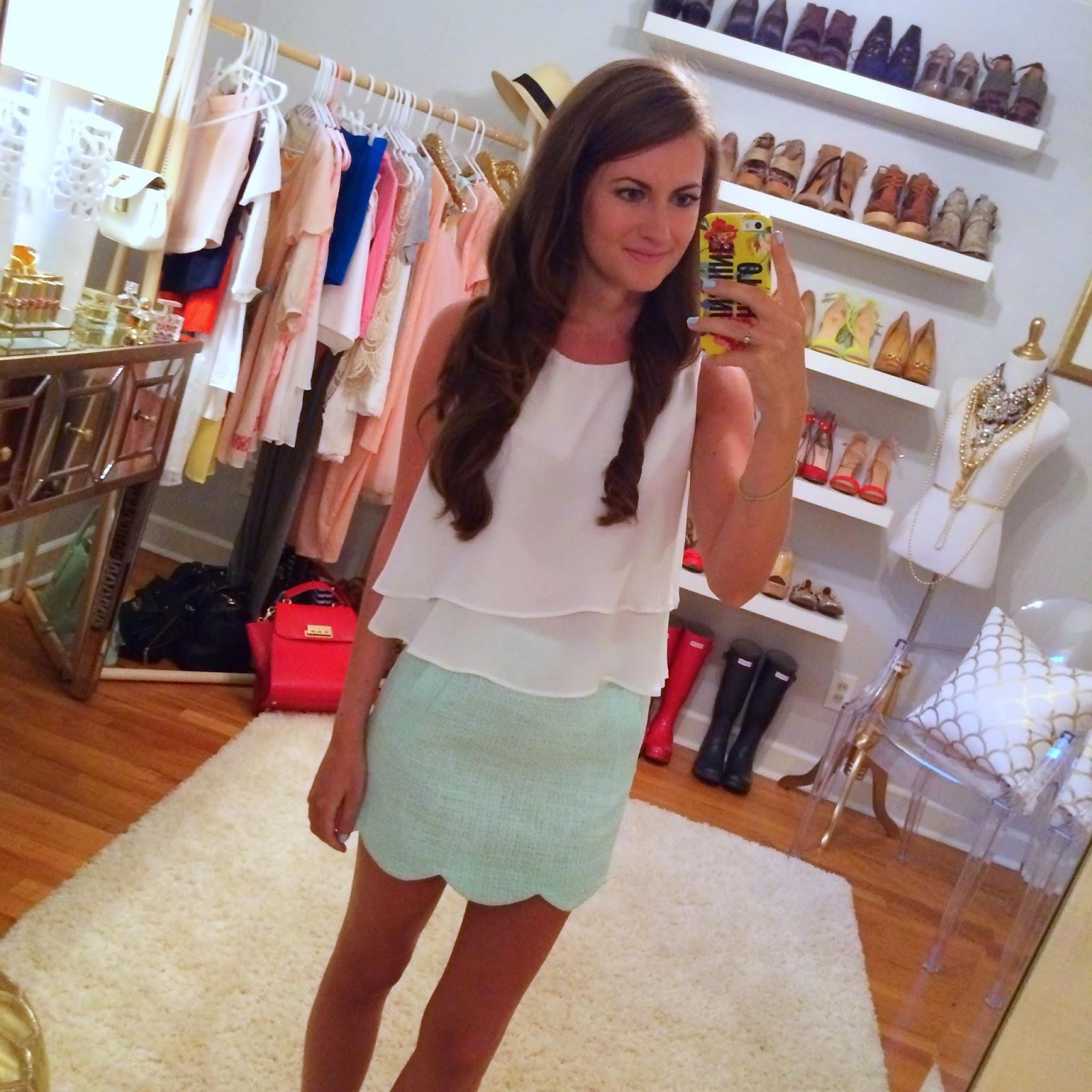 Mint scalloped skirt