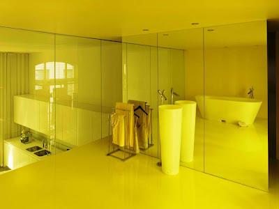 Interior remodeling of loft yellow design
