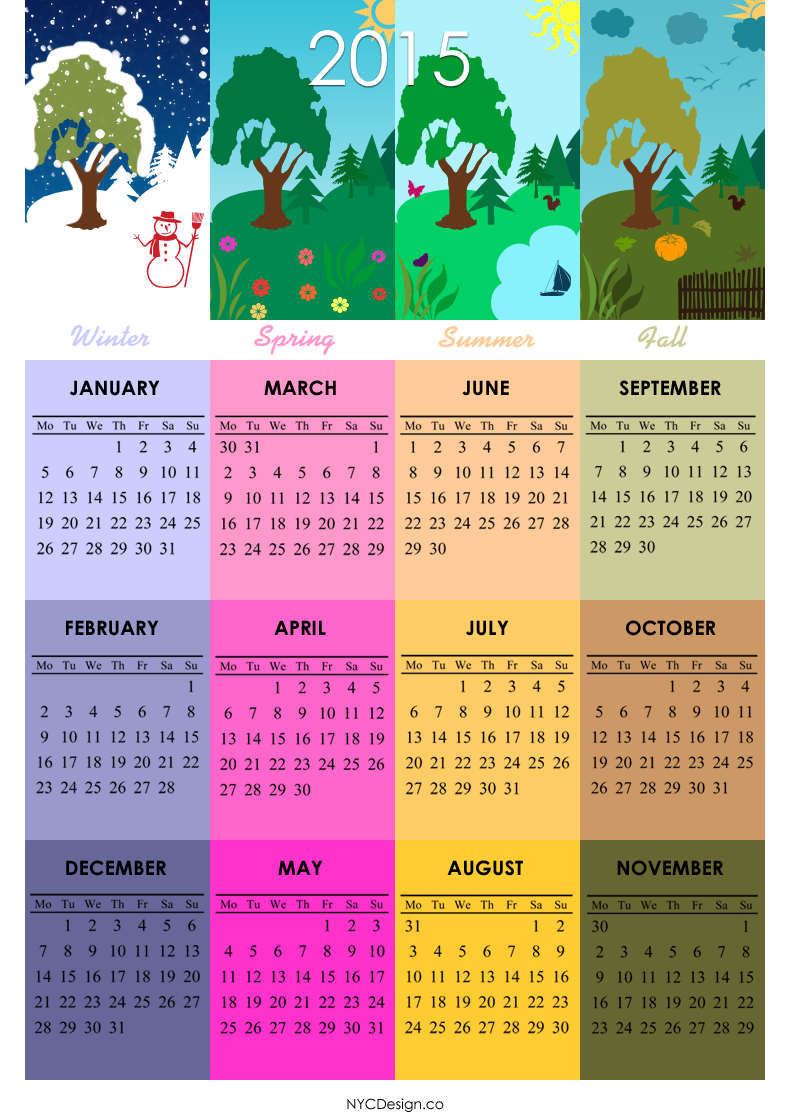 2015Calendar Printable - 4 Seasons, 4 Season Calendars