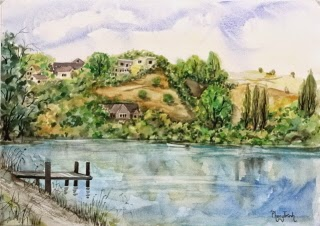 New Zealand Landscape Watercolor Painting on paper  size 29.5 x 42 cm