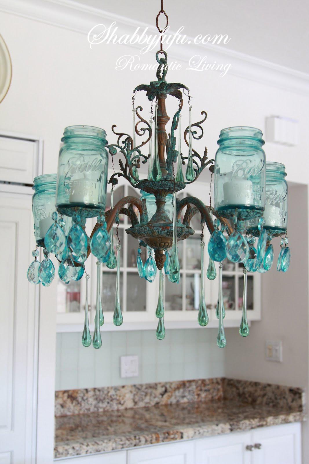 The original shabbyfufu blue mason jar chandelier shabbyfufu the original shabbyfufu blue mason jar chandelier arubaitofo Gallery