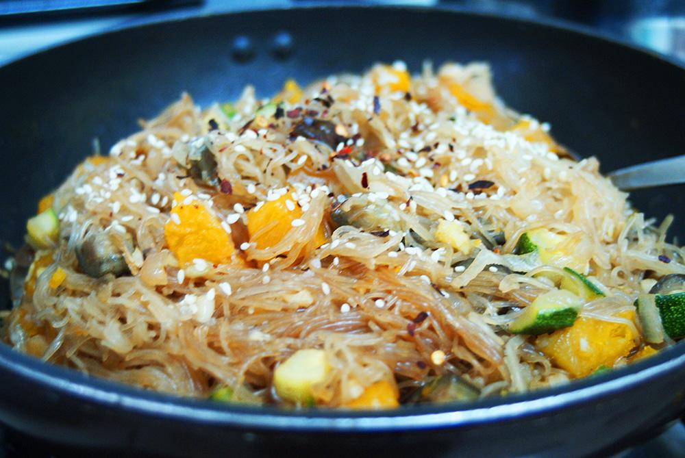 summer, squash, noodles, noodle, eggplant, Asian, zucchini, chap chae, stir fry