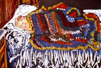 Niña duerme con la manta de abuela. Caridad de Ugarte