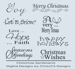 Holiday & Christmas Sentiment Digital Stamp Collection 1