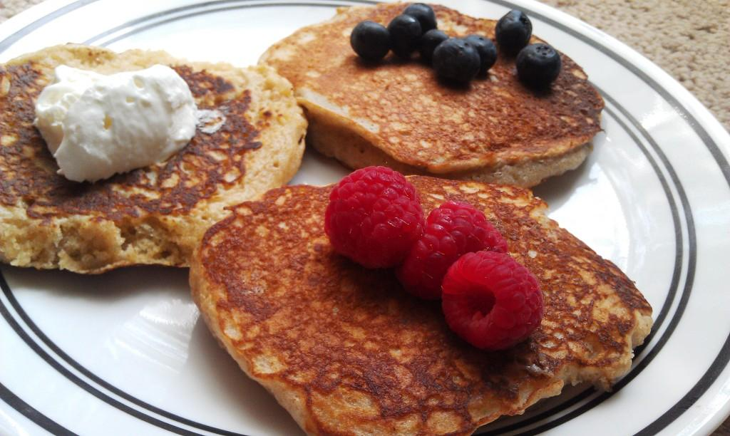 A flavorful alternative to standard pancakes, pick a yogurt flavor and change it up.