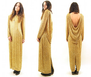 Vintage gold silk fully beaded maxi dress with draped open back.