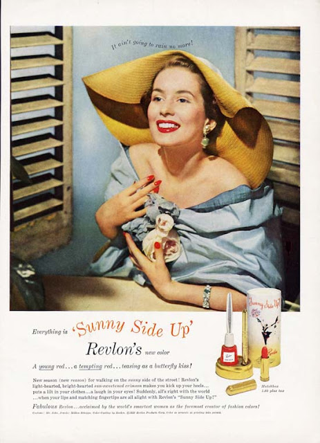 1950s Revlon lipstick nail polish ad Just Peachy, Darling