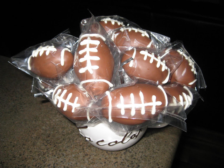 Superbowl Football cake pops with Butter Pecan cake and vanilla buttercream frosting