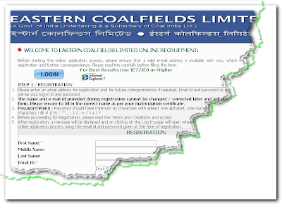 CIL Eastern Coalfields Recruitment 2013 Online form