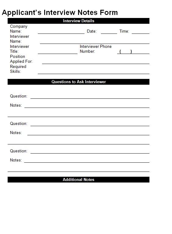 applicant 39 s interview notes form template sample. Black Bedroom Furniture Sets. Home Design Ideas