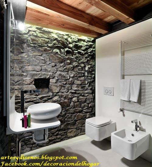 Paredes y pisos de piedra para ba os decoraci n del - Paredes para bano ...