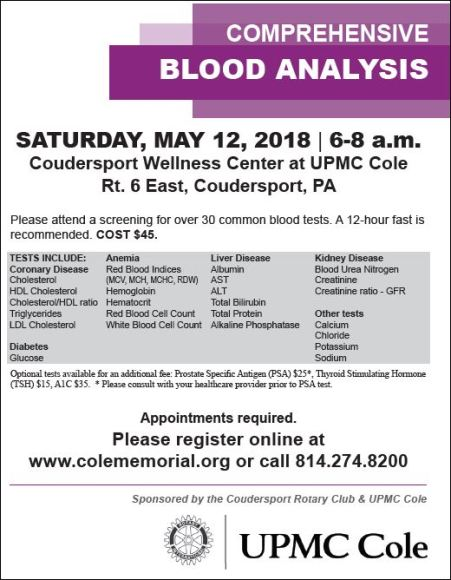 5-12 Blood Analysis, Coudersport