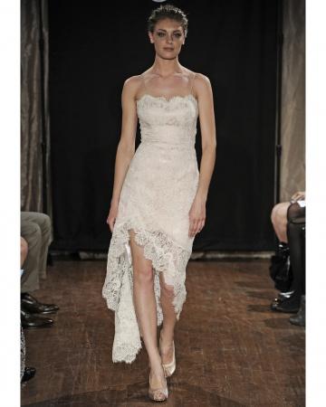 Bride in dream short wedding dress of 2013 bridal fashion for Wedding dresses asymmetrical hemline
