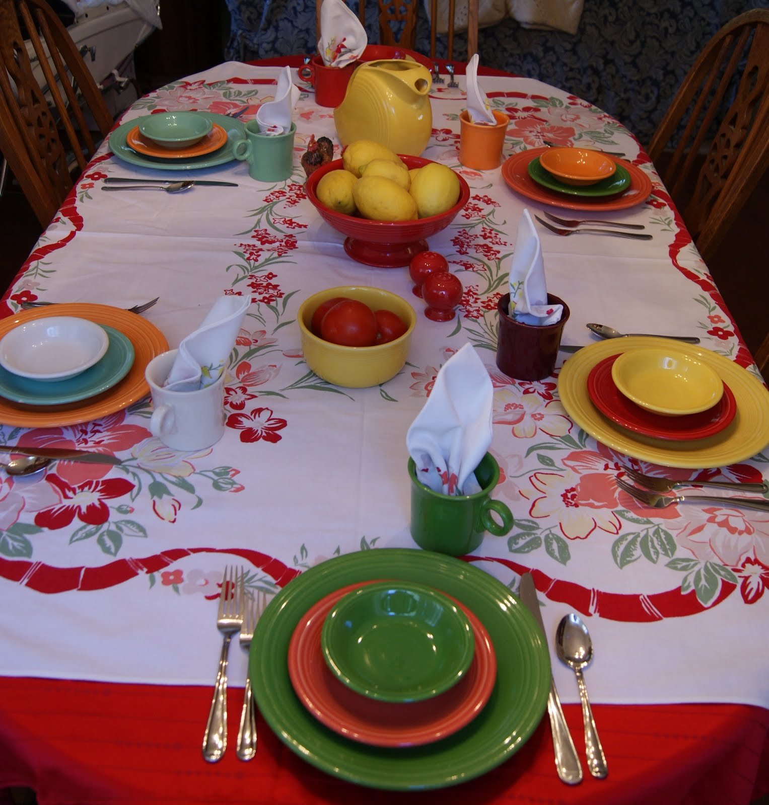 Perfect I Took All The Colors In The Tablecloth And Used My Fiesta Ware Pieces That  Matched The Colors.