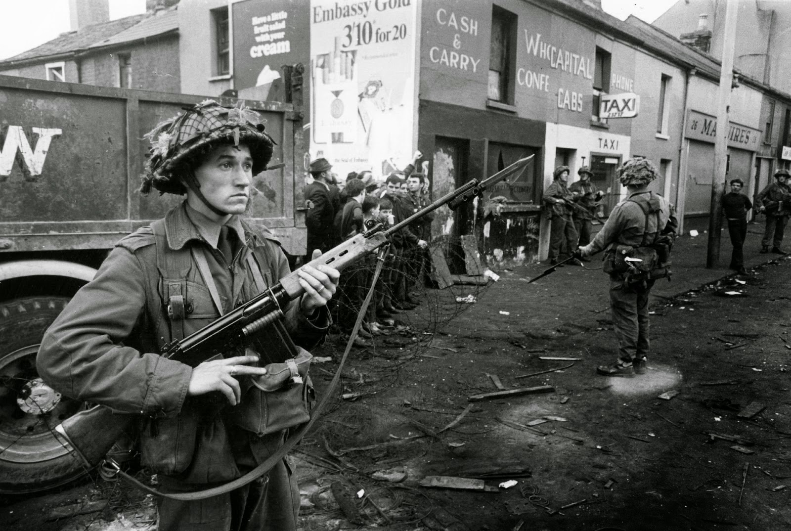 British Soldier in Falls Road, Belfast,1969