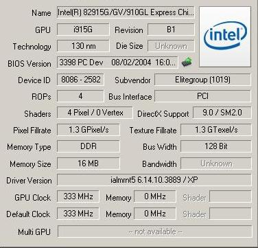 Intel (R) 82915G/GV/910GL Express Chipset Driver