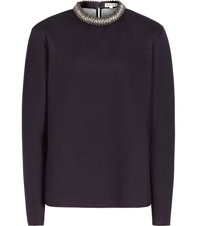 reiss navy sweater, navy embellished jumper,
