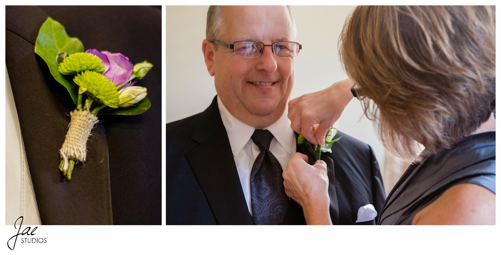 Jonathan and Julie, Bird cage, West Manor Estate, Wedding, Lynchburg, Virginia, Jae Studios, father of the bride, mother of the bride, boutonniere, pinning, black, tuxedo purple, green, flowers