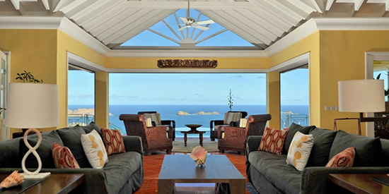 The interior of this magnificent home in St Barth and view