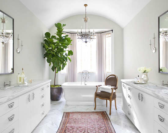 Belle maison fresh greens decorating with houseplants - Excellent bathroom plants for fresh interior ...