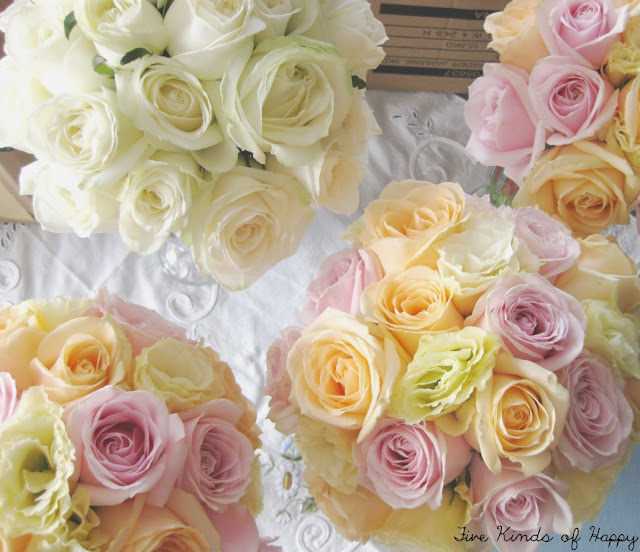 wedding flowers, pastel, peach pink lemon