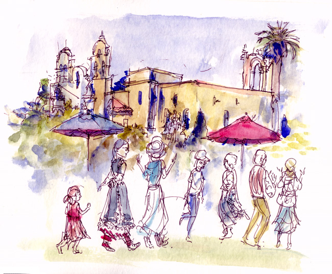 Shiho Nakaza San Diego West Coast Urban Sketchers Sketchcrawl San Diego watercolor Balboa Park international dancers